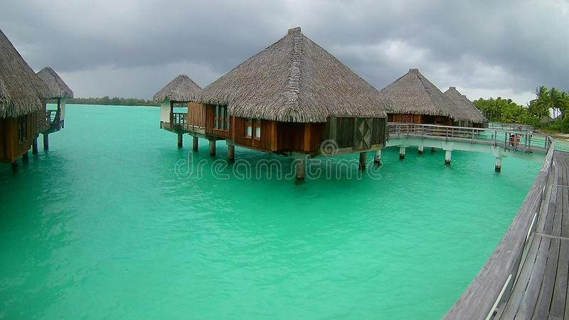 Overwater bungalow in heavenly Bora Bora royalty free stock photography