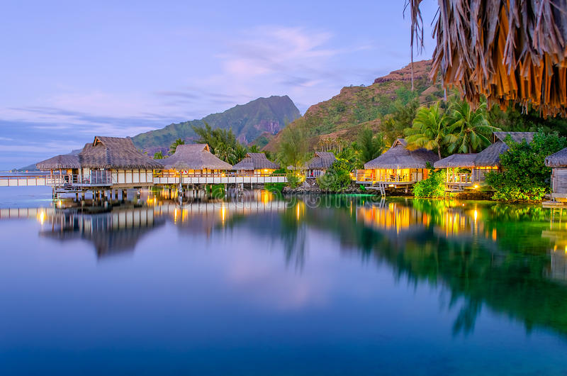 Download Overwater Bungalows stock image. Image of blue, bora - 27535467