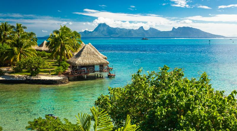 Overwater bungalows with best beach for snorkeling, Tahiti, French Polynesia stock photos
