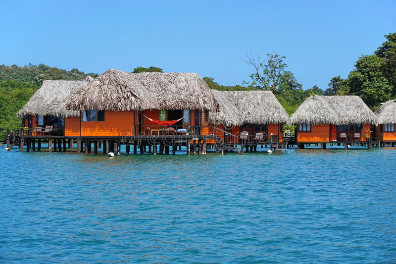 Overwater bungalows on Caribbean coast of Panama stock image