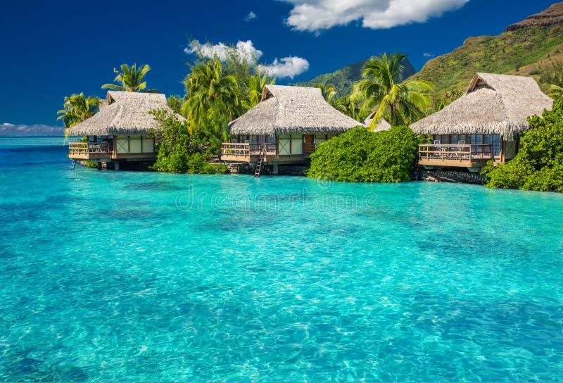 Overwater-Landhäuser in der Lagune von Moorea-Insel lizenzfreie stockfotografie