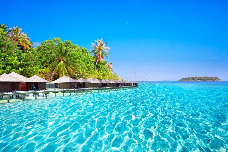 Overwaterbungalowwen op tropisch eiland met zandig strand, palmen en mooie lagune stock afbeeldingen