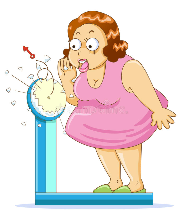 Overweight. Fat woman on the weight scale stock illustration