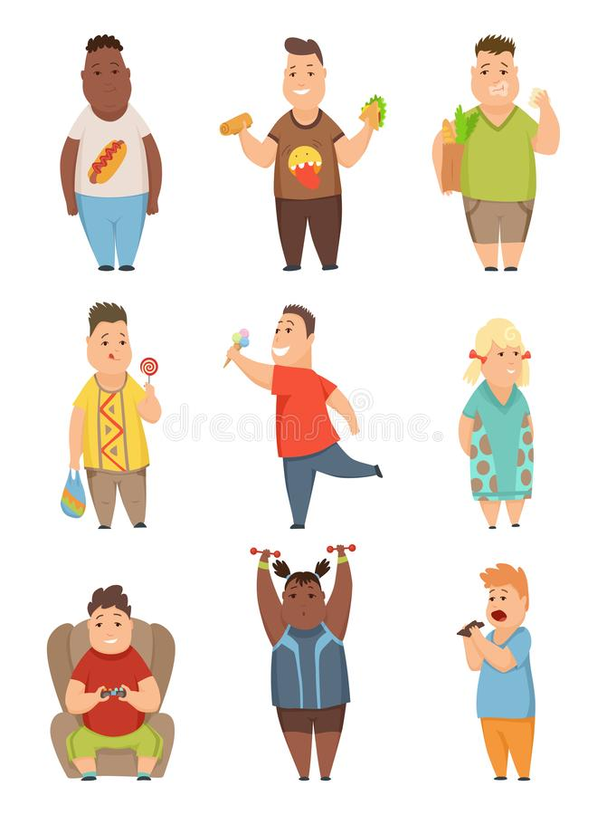 Overweight boys and girls set, cute chubby children cartoon characters eating fast food vector Illustration on a white royalty free illustration