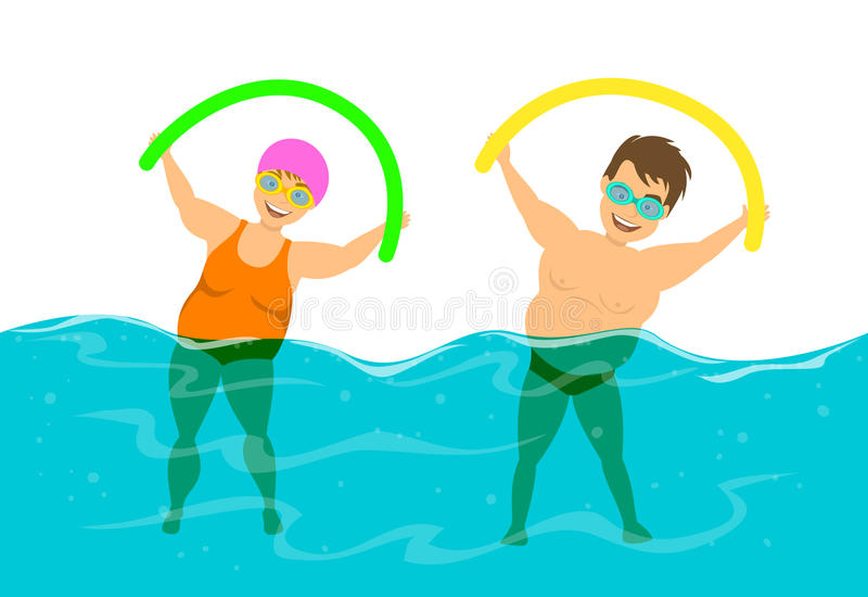 Overweight couple, man and woman do water aqua fitness aerobics in the pool vector illustration