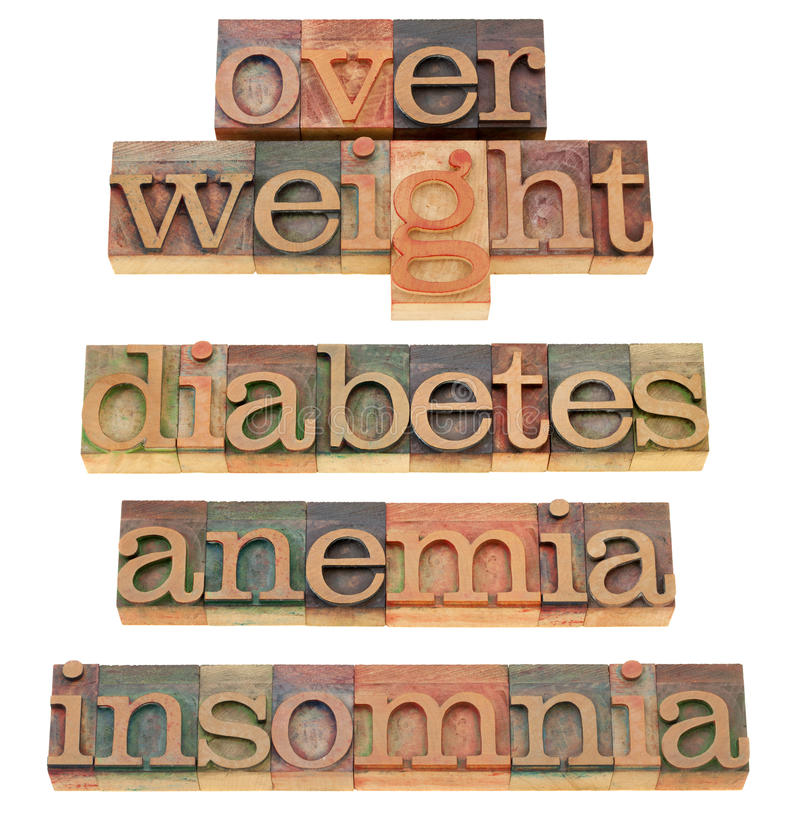 Overweight, diabetes, anemia, insomnia. Health problems - isolated words in vintage wood letterpress printing blocks stock photo