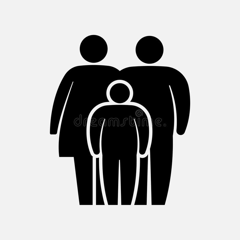 Overweight family icon. Fat woman, man, girl and boy. Vector illustration. vector illustration
