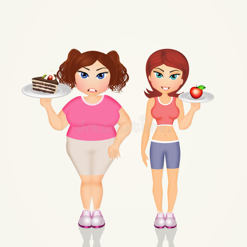 Overweight girl and skinny girl stock illustration