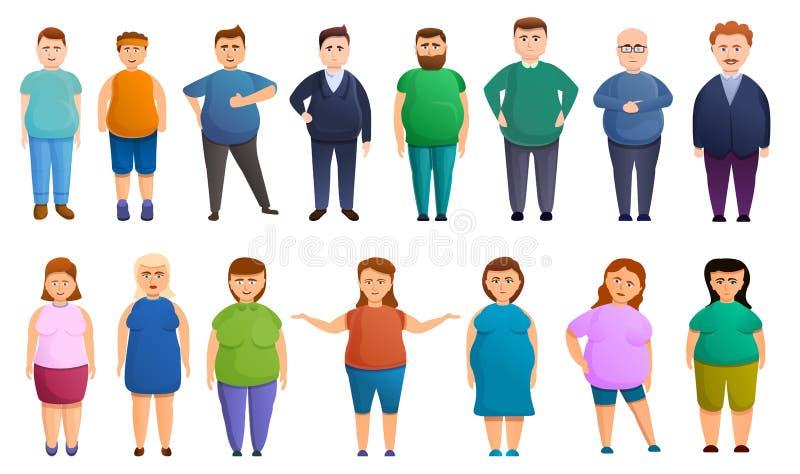 Overweight icons set, cartoon style royalty free illustration