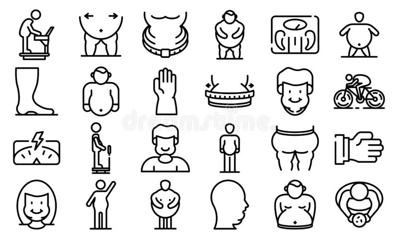 Overweight icons set, outline style stock illustration