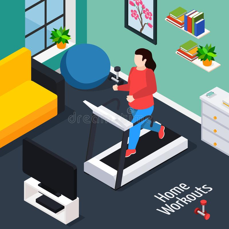 Overweight Isometric Composition stock illustration