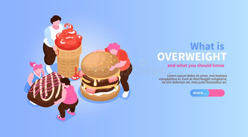 Overweight Isometric Concept Banner royalty free illustration