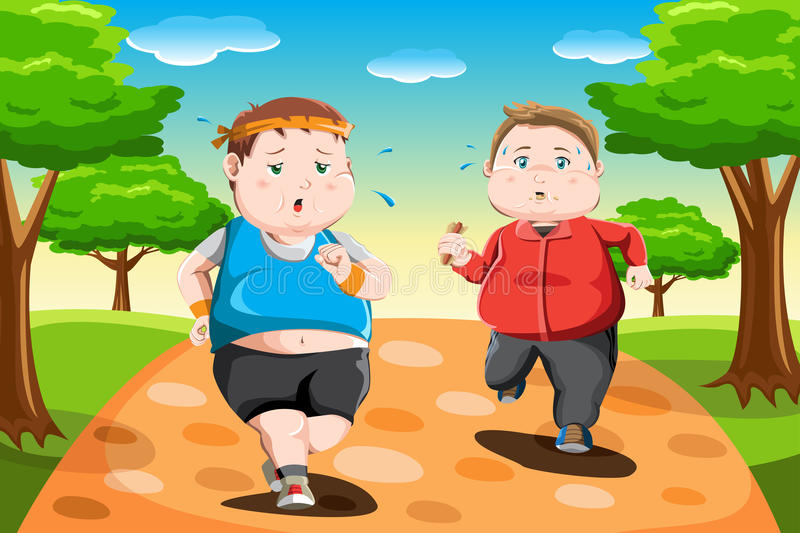 Download Overweight kids running stock vector. Image of people - 28020271