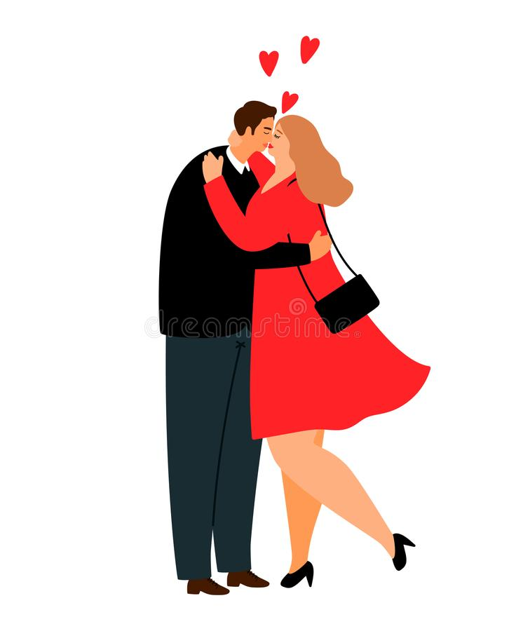 Overweight love couple. Vector plus size casual couple in suit and red dress cartoon illustration royalty free illustration