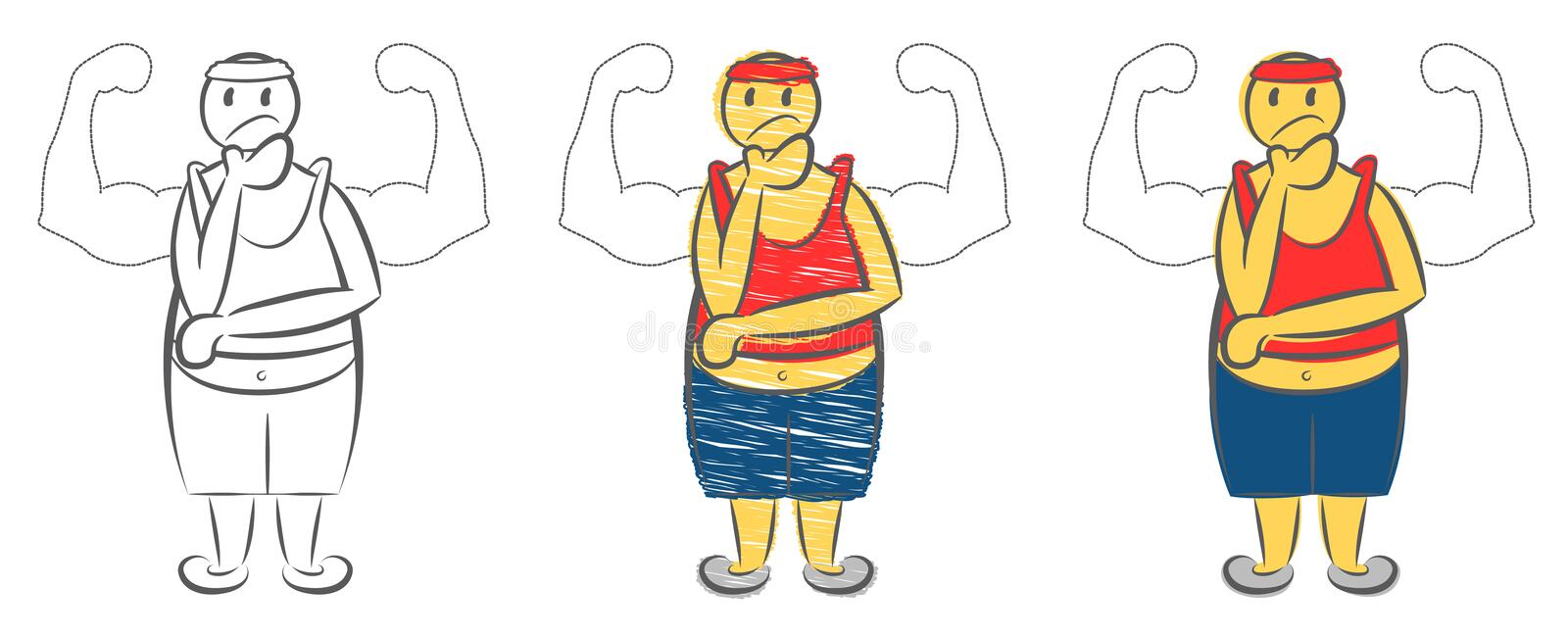 Overweight man dreaming about muscular body. Weight loss concept. Character pretend to be strong man. Young fat guy dreaming. stock illustration