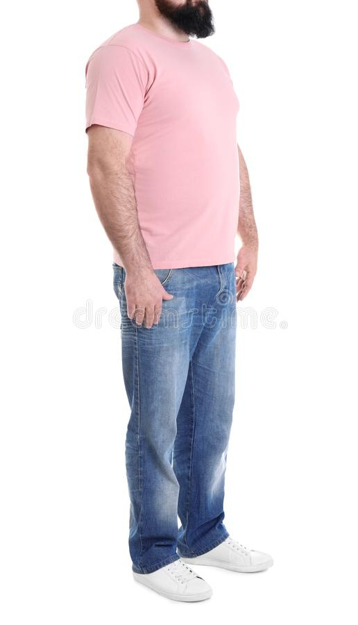 Overweight man isolated on white. Weight loss royalty free stock photography