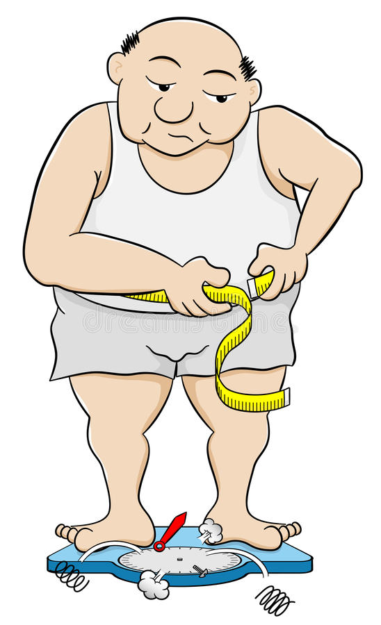 Overweight man measuring his waist circumference vector illustration