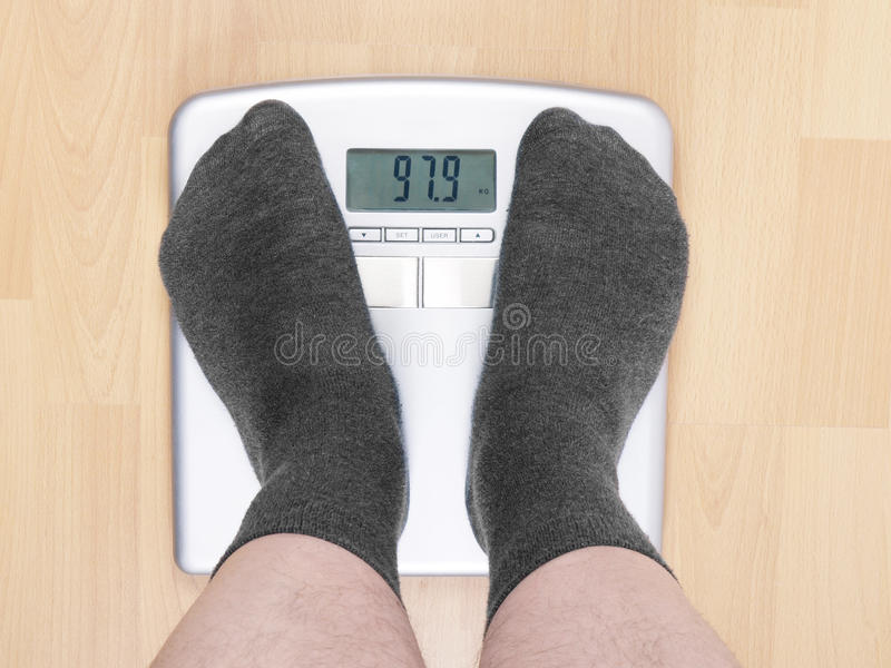 Download Overweight man on scales stock photo. Image of scales - 18836212