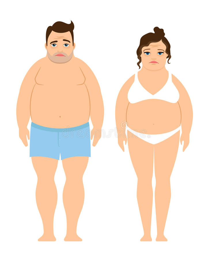 Overweight man and woman stock illustration