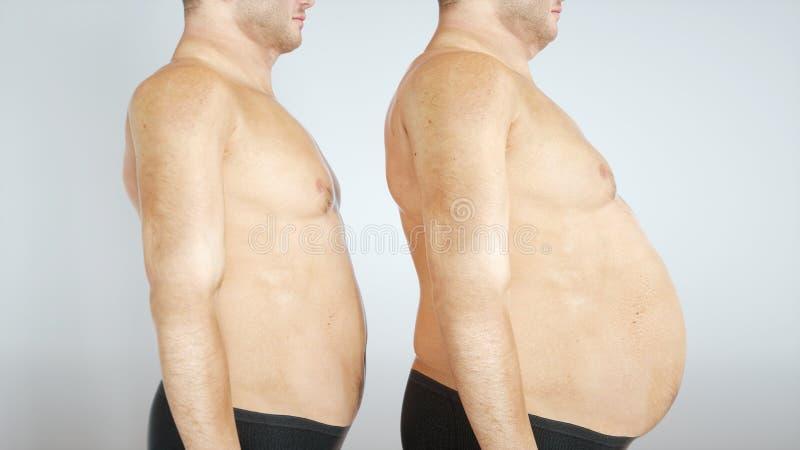 Overweight men in comparison - 3D rendering vector illustration