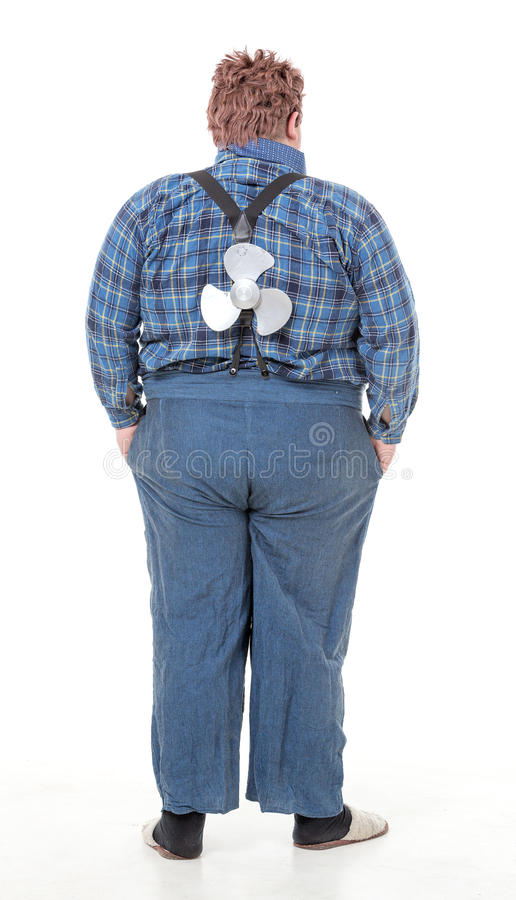 Overweight obese young man royalty free stock images