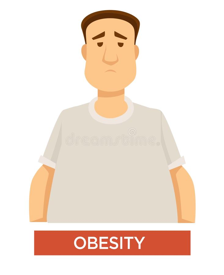 Obesity problem overweight and overeating isolated male character stock illustration