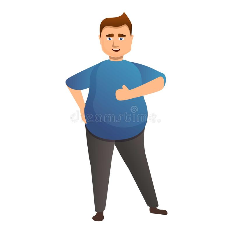 Overweight positive man icon, cartoon style. Overweight positive man icon. Cartoon of overweight positive man vector icon for web design isolated on white stock illustration