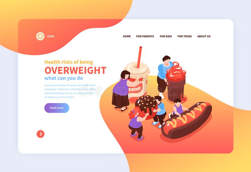 Overweight Risks Landing Page stock illustration