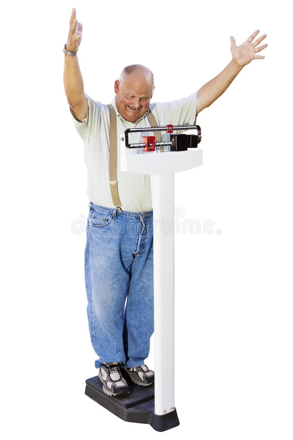 Senior Male losing weight Getting Healthy stock image