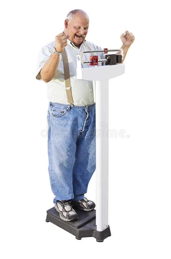Senior Male excited about Weight Loss royalty free stock images