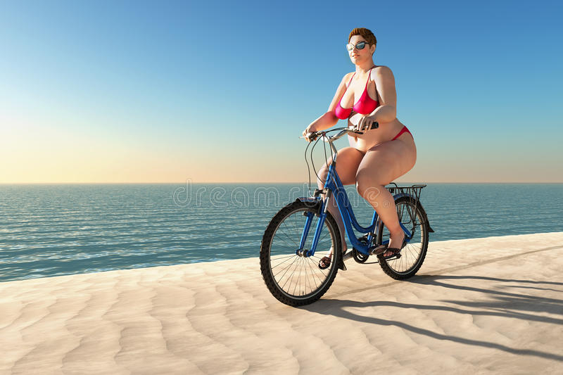 Overweight woman ride on bike stock photos