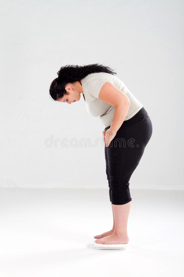 Overweight woman on scale