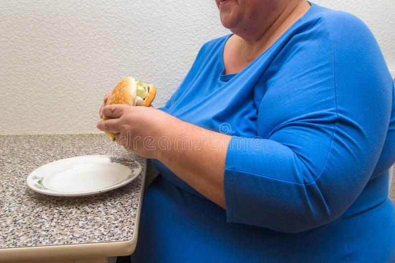 Overweight woman holds hamburger. Overweight woman wearing blue shirt eats hamburger royalty free stock photography