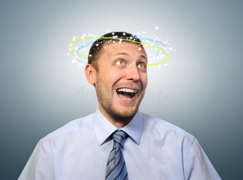 Overweldigd met gelukbedrijfsleider stock foto