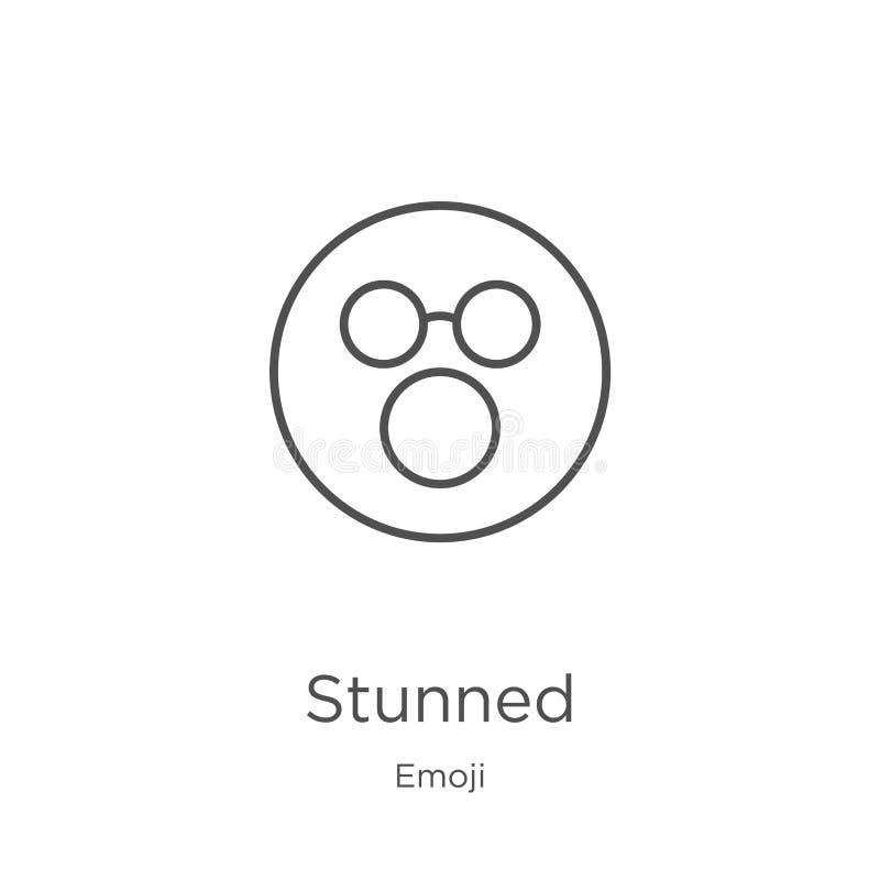 overweldigde pictogramvector van emojiinzameling De dunne lijn overweldigde de vectorillustratie van het overzichtspictogram Over vector illustratie
