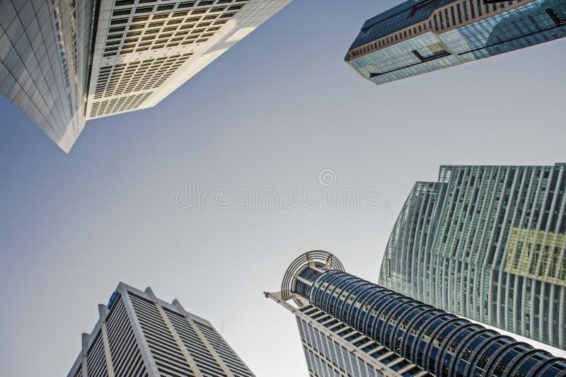 Overweldigend en indrukwekkend cityscape van Bedrijfs Singapore CBD Centraal district, het moderne stedelijke landschap van Azië royalty-vrije stock foto's