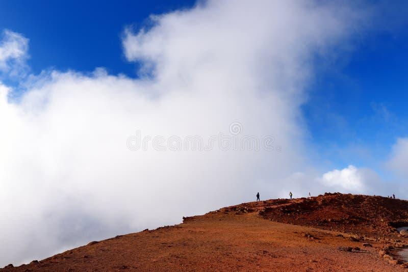 Overweldigende die landschapsmening van Haleakala-vulkaangebied van de top, Maui, Hawaï wordt gezien stock foto