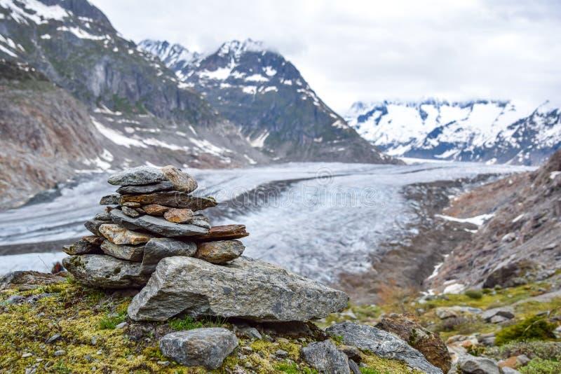 Overweldigende mening van Aletsch-gletsjer, de grootste gletsjer in de Europese die Alpen, in de Bernese-Alpen in Zwitserland wor royalty-vrije stock fotografie