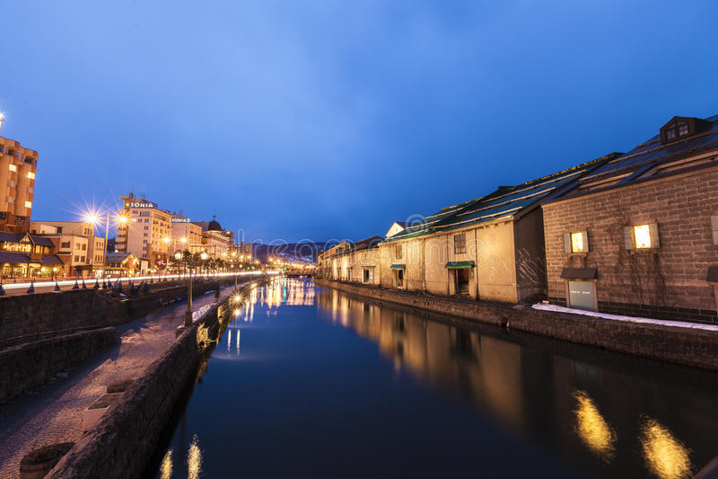 Overweldigende nachtmening van het Kanaal van Otaru royalty-vrije stock afbeeldingen