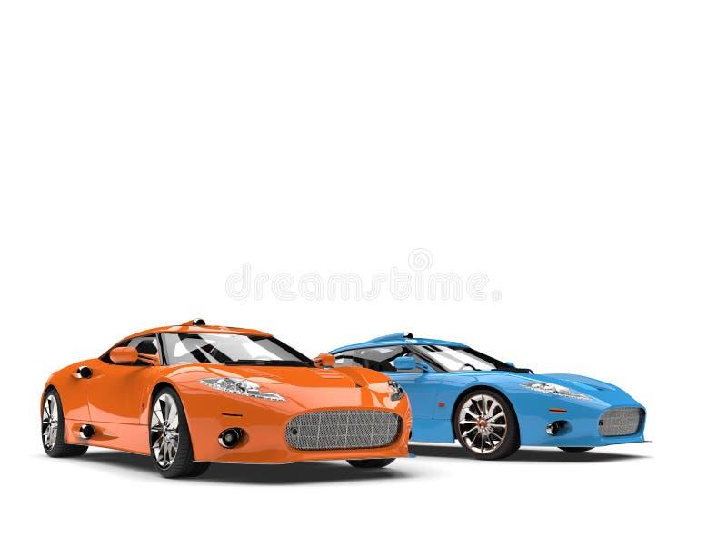 Overweldigende oranje en blauwe moderne super sportwagens vector illustratie