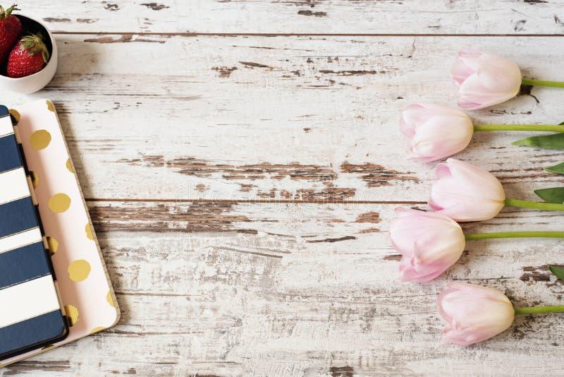 Overweldigende roze tulpen, streepnotitieboekjes en aardbeien op witte lichte rustieke houten achtergrond Exemplaar ruimte, bloem stock afbeeldingen