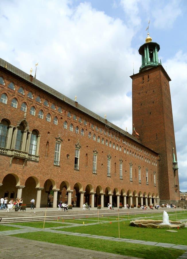 Overweldigende Voorgevel van het Stadhuis van Stockholm, Zweden, Scandinavië royalty-vrije stock afbeelding