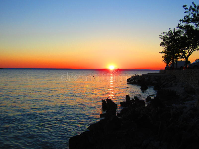 Overweldigende zonsondergang in Kroatië royalty-vrije stock afbeelding