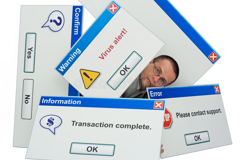 Overwhelming technology. Man covered by computer message boxes - information technology - tech concept - isolated stock photography