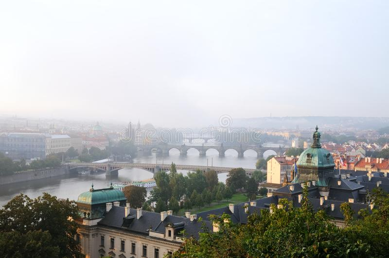 Overwiew About Prague Early In The Morning Stock Photo