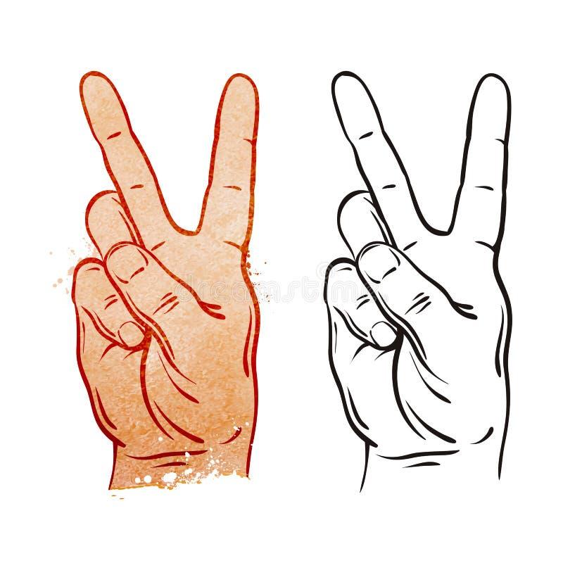 Overwinning en Vredesgebaarsymbool Vector illustratie stock illustratie