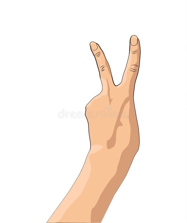 overwinning Het gebaar van de vredeshand Twee vingers omhoog De Handachtergrond van het vredesteken royalty-vrije illustratie