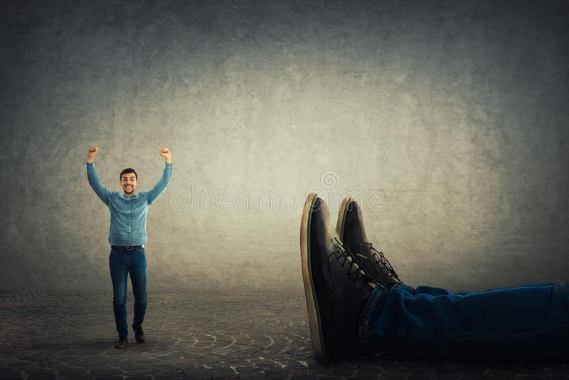 Overwinning tegen werkgever stock afbeelding