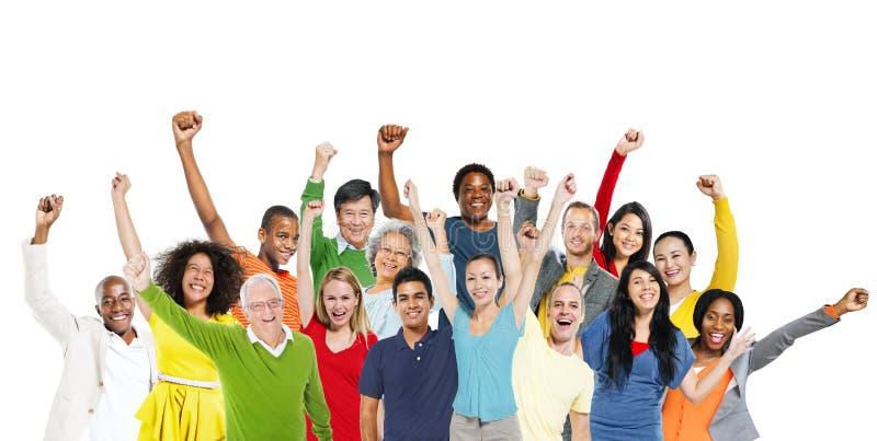 Overwinning van het het Geluk de Vrolijke Communautaire Succes van de mensenviering stock foto's