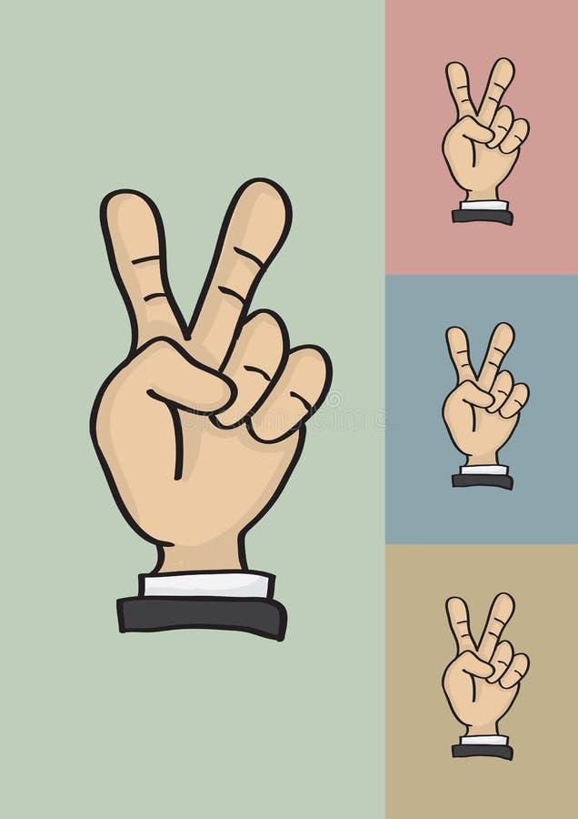 Overwinning of Vredes de Vectorillustratie van het Handteken vector illustratie